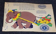Coats and Clarks Thread Die Cut Clowns Elephant Cart Punch Out Spools Circus Toy