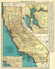 1940 Antique CALIFORNIA Map Vintage State Map of California Wall Art 8138
