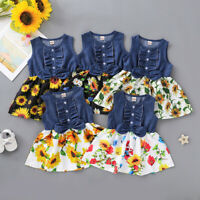 Toddler Kids Baby Girls Bow Denim Dress Splice Sunflower Print Princess Dress AU