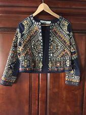 ZARA Embroidered Jewel Beaded Jacket Embellished Blazer Size Small