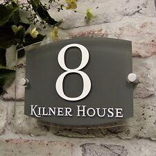 MODERN HOUSE SIGN DOOR NUMBER PLAQUE STREET ADDRESS PLATE GLASS/SLATE EFFECT