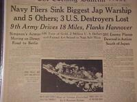 VINTAGE NEWSPAPER HEADLINE~WORLD WAR 2 JAPANESE BATTLESHIP YAMATO SUNK WWII 1945