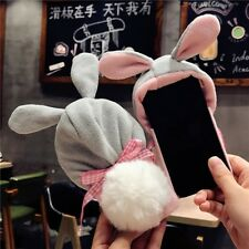 Winter Warm Soft Furry Rabbit Ear Cap Fur Case Cute Cover For iPhone X 8 7 Plus
