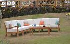 8 Pc Teak Wood Garden Indoor Outdoor Patio Sectional Sofa Set Furniture Napa New