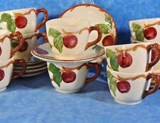 10 Franciscan APPLE Hand Painted Cup & Saucer Sets- 1958 GMcB TV Marks- Minty!