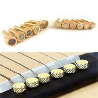 6pcs Brass Premium Bridge Pins Set For Acoustic Guitar Turned String Pegs New