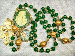 Beautiful Vatican Style Green Jade Bead Mary Child Cameo Charm Rosary & Marker