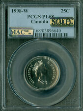 1998-W CANADA 25 CENTS PCGS PL-68 MAC SOLO FINEST GRADED MAC SPOTLESS *