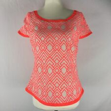 KOOKAI Women's Size 38 (8-10) Short Sleeve Fluro Orange Embroidered Printed Top