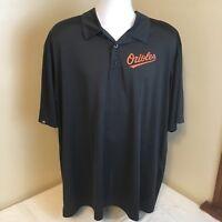 Majestic Mens Polo Shirt 2XL XXL Baltimore Orioles Black w Orange Logo MLB FS!