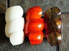 Vtg 50s Lucite plastic spiral swirl twist napkin rings 3 brown white tortoise