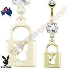 14kt Gold Plated Playboy Belly Ring with Die-Cut Playboy Bunny Lock Dangle