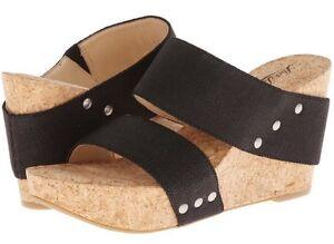 Lucky Brand Magnolia 2 Black Cork Heel Platform Wedge Sandal Slip On