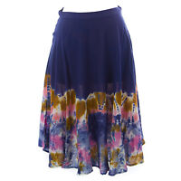 TOPSHOP Women's Blue / Multi Printed A-Line Cotton Skirt 27K39Y US Size 8 NEW.