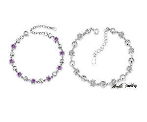 18K White Gold Silver Crystal Amethyst Heart Love Bangle Bracelet Gift Box B13