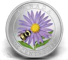 CLEARANCE MUST SELL! 2012 CANADA 25-cent Coloured Coin - Aster and Bumble Bee