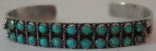 VINTAGE NAVAJO INDIAN SILVER TURQUOISE DOUBLE SNAKE EYE ROW BRACELET