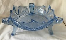 More details for art deco footed blue glass bowl geometric pattern candlesticks/flowers
