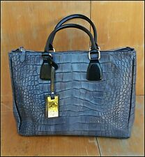 New CLAUDIA FIRENZE Gray Genuine/Leather Bag Croco Tote Shopper Made In Italy XL