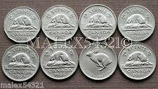 1961 TO 1968 ELIZABETH II 5 CENT SET (8 COINS) NICKEL CIRCULATED