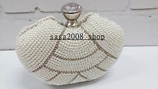 Creamy/Ivory~Handmade~Bridal Evening Pearl Clutch Bag☆Free shipping To UK☆T-127