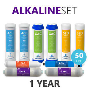 1 Year Alkaline Reverse Osmosis System Replacement Set – 10 Filters – 50 GPD