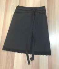SASS - Women's Brown Striped Skirt with Black Lace Trim - Size 12 - Lined - Tie