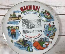 "Warning! Fishing Pox Collector Plate 8 1/8"" diameter"