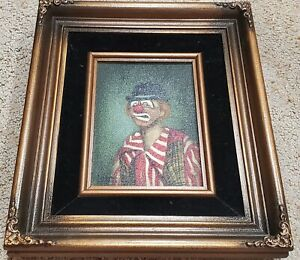 """1974 ORIGINAL FRAMED DONNA DUNANN 5X7 """"DERBY"""" PAINTING BY FAMOUS CLOWN PAINTER"""