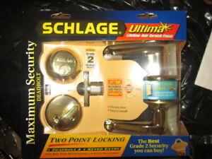 Schlage FB350N Brass Left Hand Door Maximum Security Deadbolt & Door Handle.