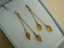 9ct Gold chain cascade earrings with genuine Baltic Amber drops