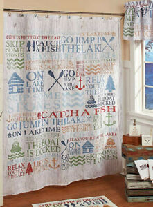 Lake Words Fabric Shower Curtain Lake House Cabin Bath Decor Vacation Home