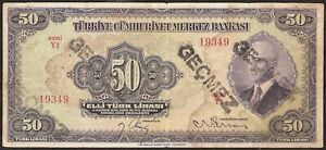 TURKEY Turkiye  Cumhuriyet  Merkez  Bankasi  50 LIRASI (1942) P:142a F