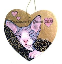 ORIGINAL DESIGN SPHYNX CAT HEART PAINTING LAMINATED SIGN BY SUZANNE LE GOOD