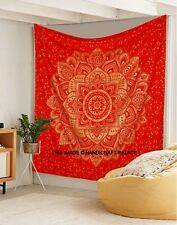 Indian Cotton Wall Hanging Red Ombre Mandala Bed Sheet Bed Cover Tapestry Throw