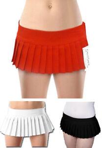 "LADIES WOMENS 7"" PLEATED MINI SHORT SEXY SKIRTS PLAIN RED BLACK WHITE UK 8-14"