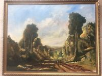 Original Signed Post Impressionist Oil Painting 1958 Landscape Farming Country