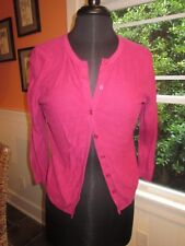LOFT WOMEN'S PINK PURPLE COTTON 3/4 SLEEVE CARDIGAN SIZE MEDIUM PRE-OWNED