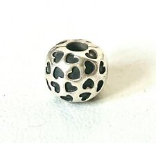 GENUINE PANDORA S925 ALE - Solid Sterling Silver Black HEART CLIP CHARM