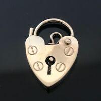 Vintage 9ct Yellow Gold Heart Padlock Charm Bracelet Fastener #181