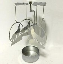NEW METAL HOWLING WOLF TEA LIGHT POWERED CAROUSEL SPINNING CANDLE HOLDER SPIN21