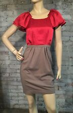NEW $168 BCBG GENERATION 4 CASUAL COCKTAIL SHIFT DRESS RED TAN PONTE KNIT
