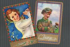 Swap Playing Cards 2 VINT ENG NMD  GOLFING LADY & GOLFING BOY  GREAT   ENN 31