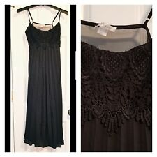 Women's Flora Nikrooz Long Black Lace Negligee Gown Size Small Sheer Sexy NEW