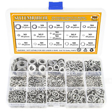 304 Stainless Steel Flat Washer and Lock Washer Assortment Set 700 Sizes 8 NEW