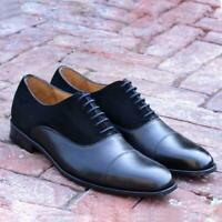 Black Formal Dress Shoes Men Suede Oxford  Handmade Captoe Party Calf Leather