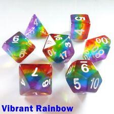 Aurora Gem Poly 7 Dice RPG Set Bright Vibrant Rainbow Pathfinder 5e D&D DND HD