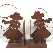 Pair of Cowgirl Metal Bookends Lasso Western Rust Tone Wrought Iron Rustic Decor