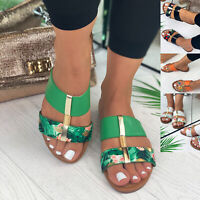 New Womens Flat Slip On Sandals Strappy Peep Toe Mule Comfy Shoes Sizes 3-8
