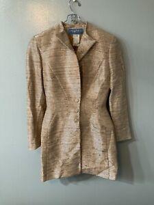 Vintage Thierry Mugler Paris Gold MetalliC Textured Skirt Suit  RARE Size 38